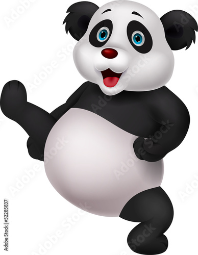 Panda cartoon doing martial art