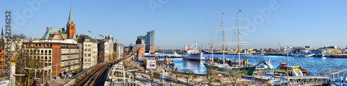 canvas print picture Hamburger Hafen Panorama