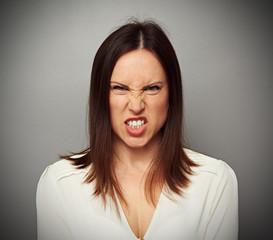 mad woman baring her teeth