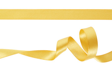 Golden ribbon, curled up and flat, clipping path