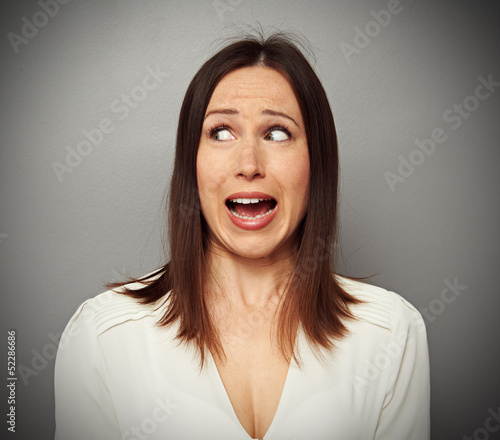 scared woman looking at something