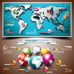 Vector world map design set of infographic elements