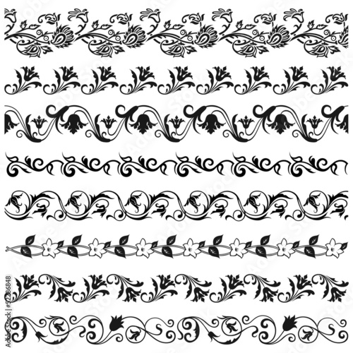 Set of decorative floral borders