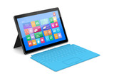 The tablet PC with a surface blue keyboard