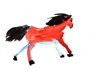 child's painting - galloping horse