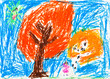 child's drawing - orange autumn trees