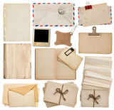 set of old paper sheets, book, envelope, postcards