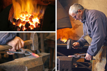 Blacksmith at work - collage