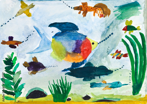 child's painting - fishes in sea