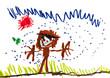 child's drawing - boy in rain