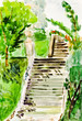 child's paiting - old stone stairway