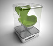 Design green swivel chair showcase