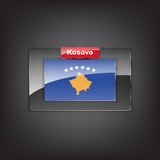 Glass button of the flag of Kosovo poster