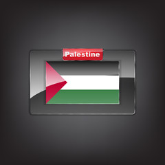 Glass button of the flag of Palestine