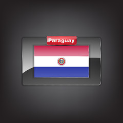 Glass button with the flag of Paraguay