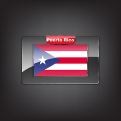 Glass button with the flag of Puerto Rico