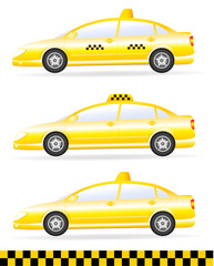 three isolated taxi on white background