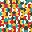 Retro seamless pattern with circles. Colorful vector background.