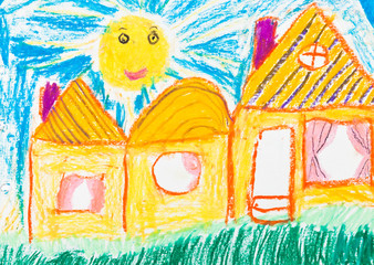 child's drawing - country houses