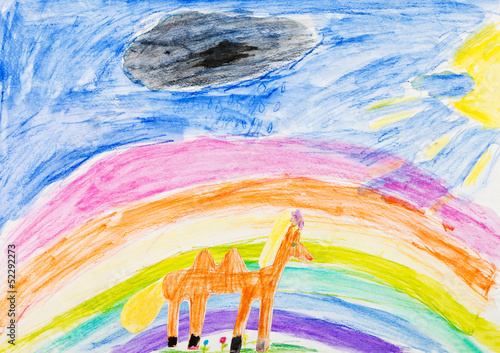 child's drawing - horse under rainbow