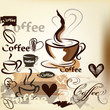 Coffee  grunge vintage vector design with coffee cups, grains an