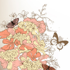 Floral retro background with flowers