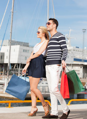 young couple in duty free shop