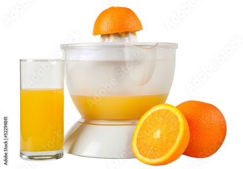 Still life with oranges and juice