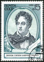 USSR - 1988: shows Lord Byron (1788-1824), English Poet