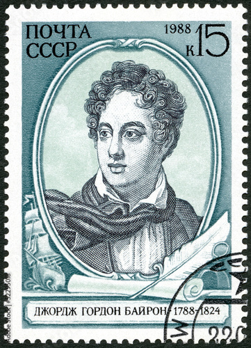 USSR - 1988: shows Lord Byron (1788-1824), English Poet