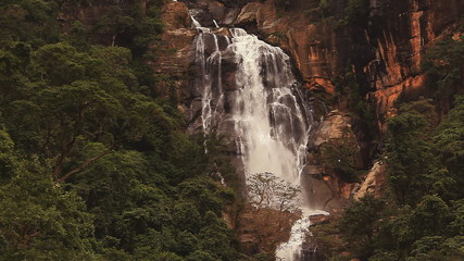 Nuwara Eliya waterfall in Sri Lanka.