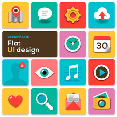 Flat UI design trend set icons, vector Eps10 illustration.
