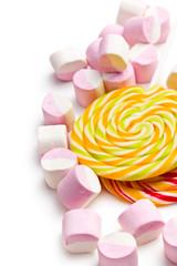 sweet marshmallows and lollipop
