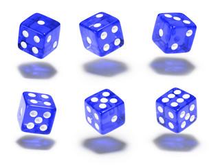 Würfel, 6er Set, schweben, blau