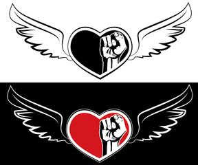 Heart, fist and wings. The tattoo design element