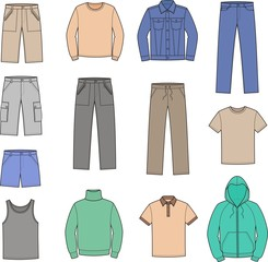 Vector illustration of men's casual clothes