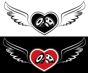 Heart, speaker and wings. Tattoo on a white and black background