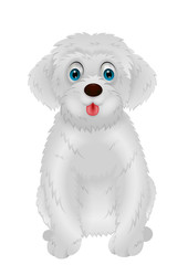 Cute white dog cartoon