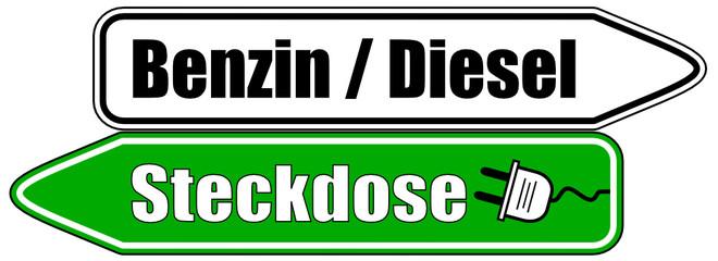 Benzin Diesel Steckdose Schild  #130513-svg02
