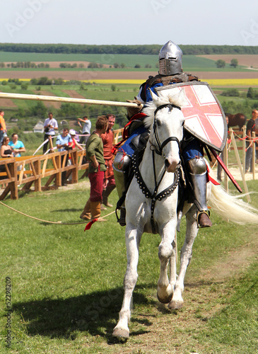 KHOTYN-MAY 10: Riding knight during  Festival, 2013, Ukraine