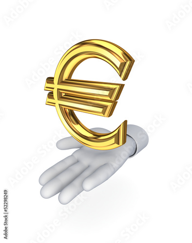 Stylized hand and symbol of euro.
