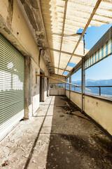 old destroyed building, grunge balcony