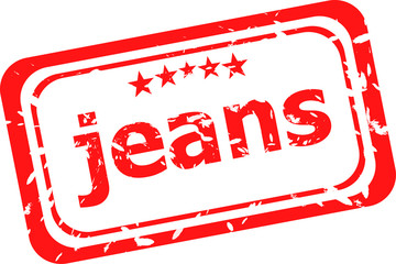 word jeans on red rubber stamp