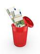 Packs of euro in red recycle bin.