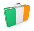Suitcase with flag of Ireland.
