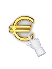 Stylized pointing hand and symbol of euro.