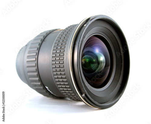 Ultra wide lens for SLR camera on white background