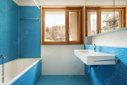 house modern design, interior, blue bathroom