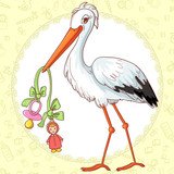 Baby greetings card with stork and pacifier for girl