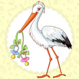 Baby greetings card with stork and two pacifiers for twins